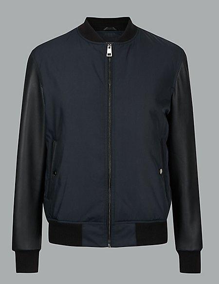 Leather Sleeve Bomber Jacket