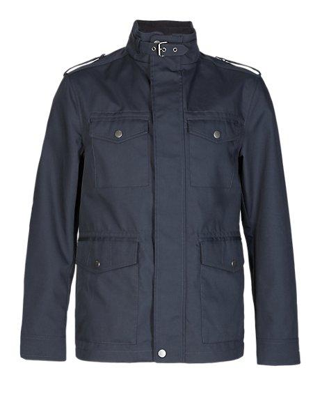 Slim Fit Military Jacket with Epaulettes