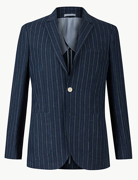 Pure Linen Striped Tailored Fit Jacket