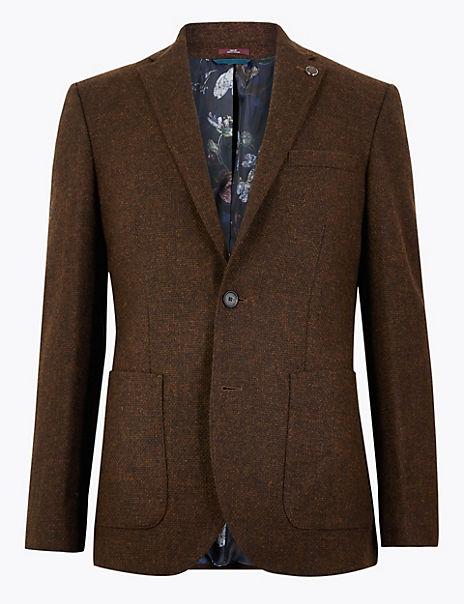 Tailored Fit Wool Basket Weave Jacket