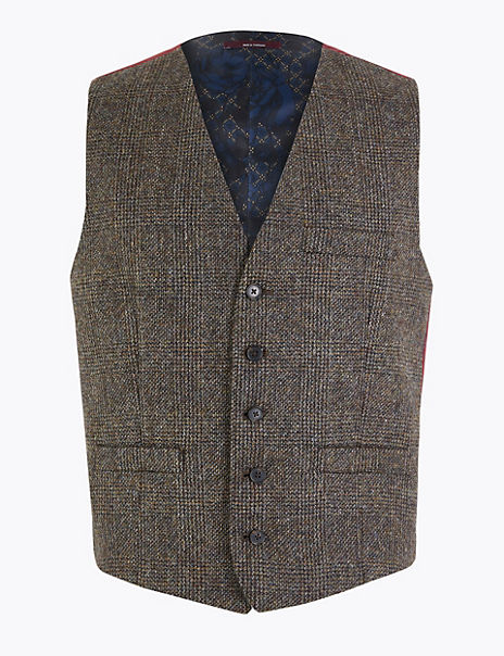 Pure Wool Prince of Wales Checked Waistcoat