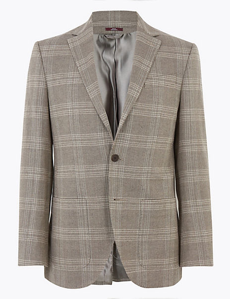 Regular Fit Cotton Checked Jacket