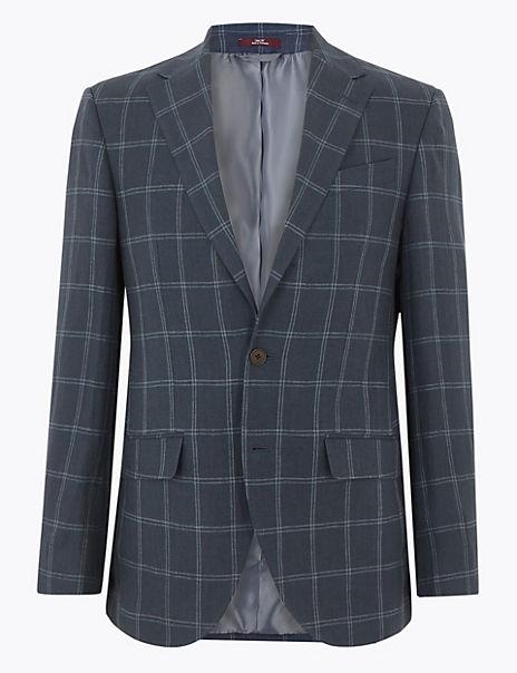 Regular Pure Linen Checked Jacket