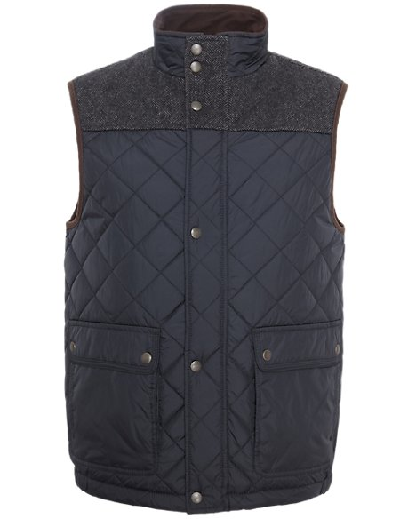 Slim Fit Quilted & Panelled Gilet