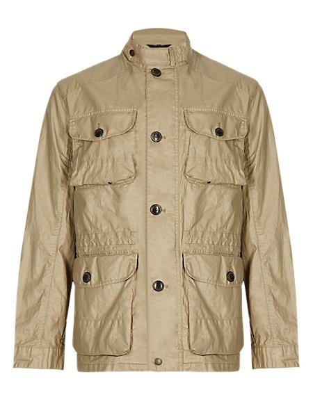 Pure Linen Waxed Safari Jacket