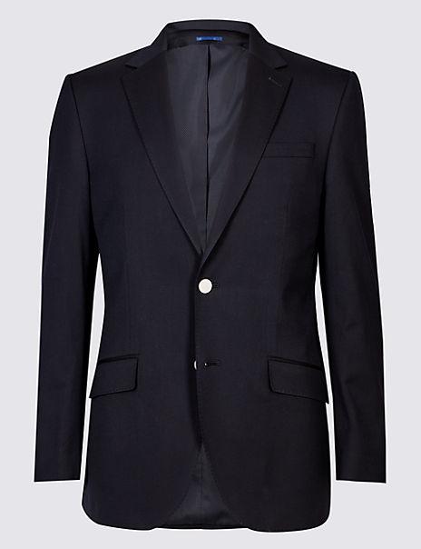 Wool Blend Textured Regular Fit Jacket