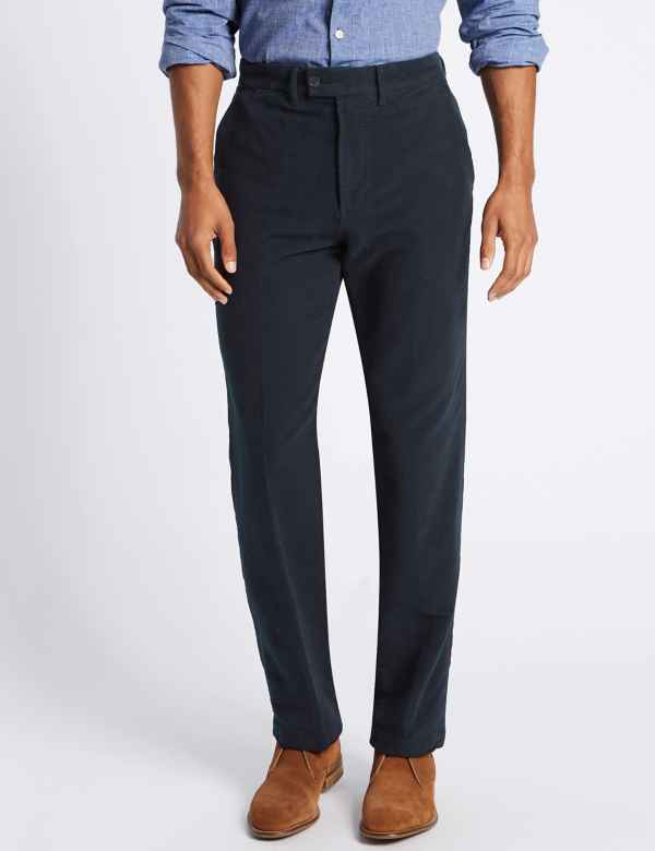 c8c4f1e82f97 Regular Fit Pure Cotton Italian Moleskin Trousers
