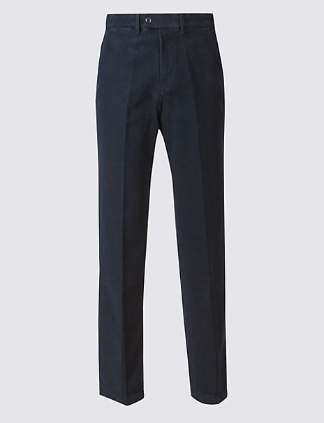 Regular Fit Pure Cotton Italian Moleskin Trousers