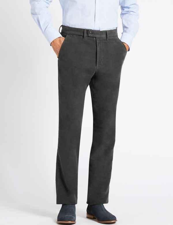 7d4f740fd59 Regular Fit Pure Cotton Italian Moleskin Trousers