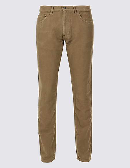 Italian Moleskin Slim Fit 5 Pocket Trousers