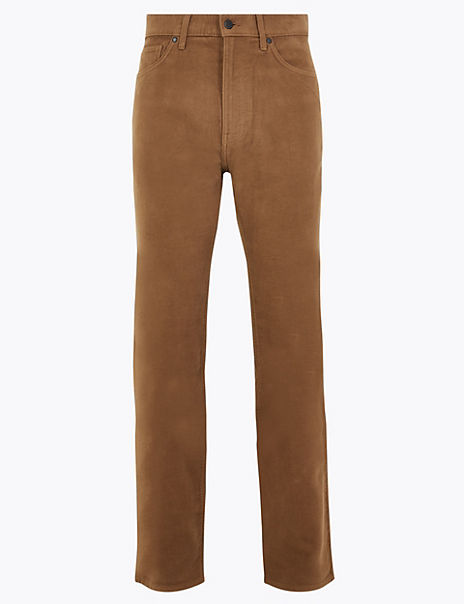 Regular Fit Italian Moleskin Trousers