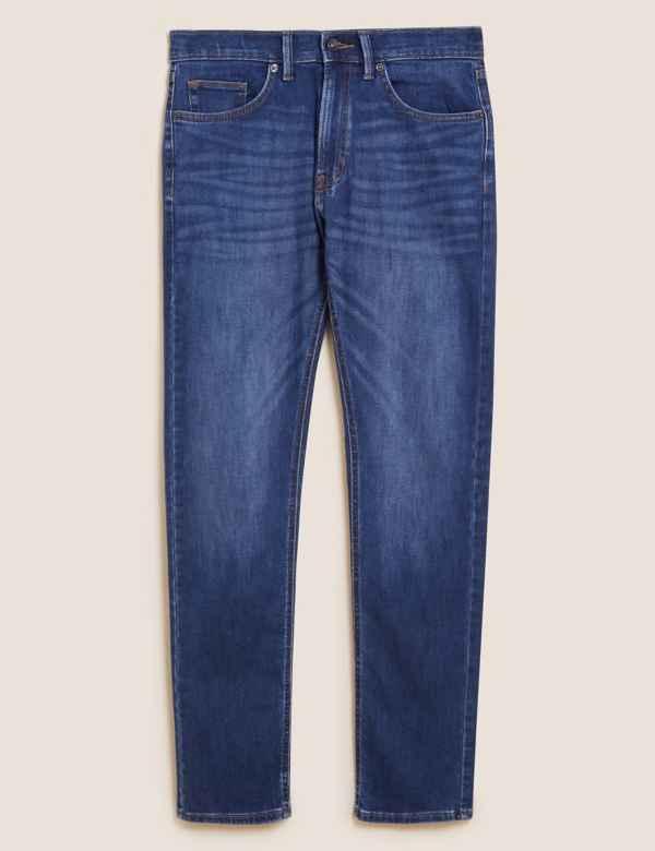 M/&S STORMWEAR JEANS STRETCH REGULAR FIT STONE OR GREEN MENS NEW
