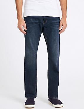 Straight Fit Stretch Jeans , INDIGO, catlanding