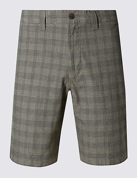 Pure Cotton Tonal Grid Checked Shorts