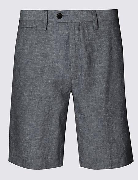 Linen Blend Chambray Chino Shorts