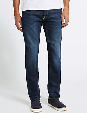 Vintage Wash Tapered Fit Jeans