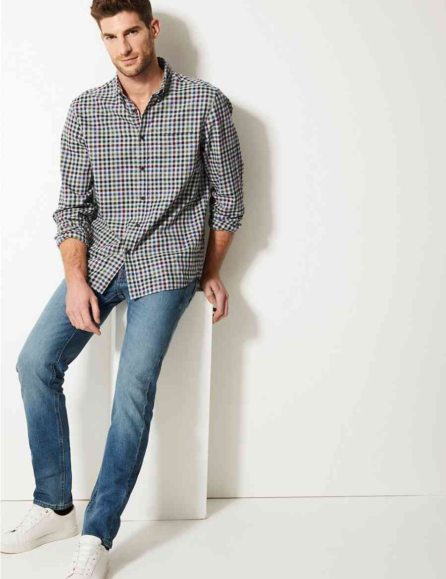Vintage Wash Tapered Fit Jeans Ms Collection Ms