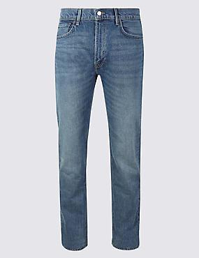 Vintage Wash Tapered Fit Jeans