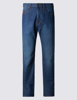 Medium Blue Regular Fit Stretch Jeans Outfit