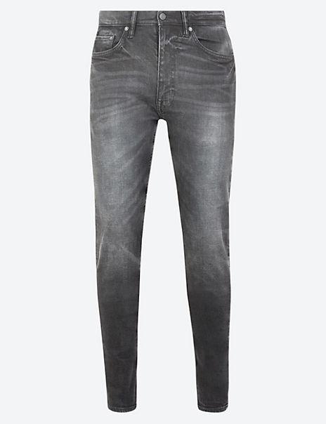 Skinny Fit Vintage Wash Stretch Jeans