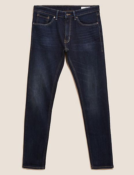 Slim Fit Vintage Wash Stretch Jeans