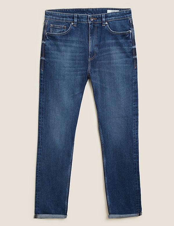 Loose Fit Vintage Wash Stretch Jeans