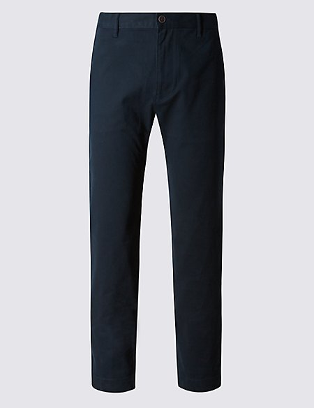 Cotton Rich Straight Fit Flat Front Chinos