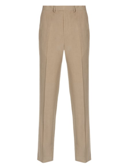 Tailored Fit Flat Front Trousers with Linen
