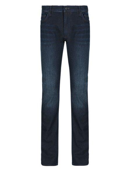 Slim Leg Washed Stretch Jeans