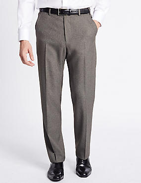 Regular Fit Textured Flat Front Trousers