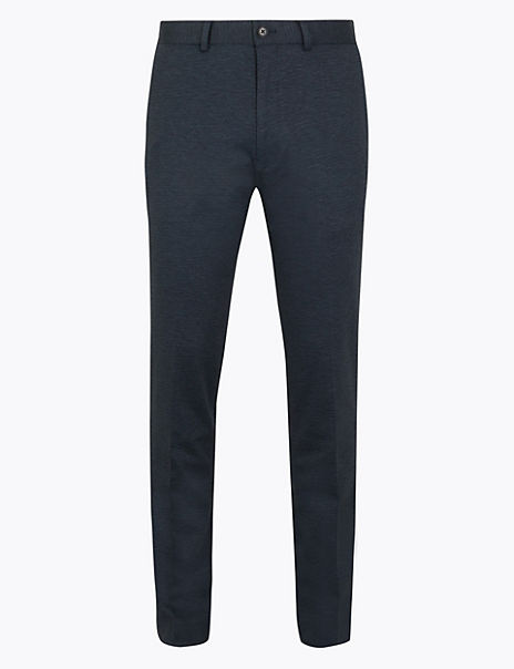 Skinny Fit Textured Stretch Trousers