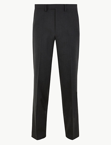 Slim Fit Wool Blend Trousers With Stretch