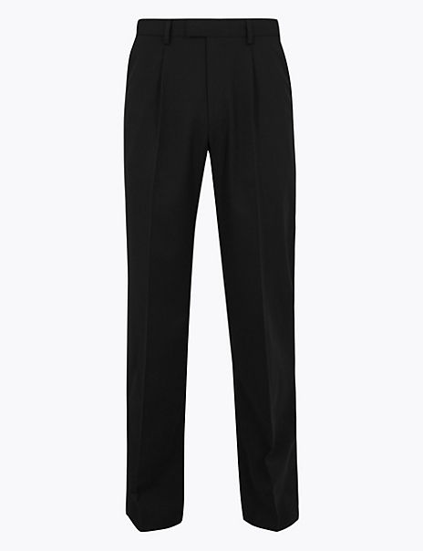 Regular Fit Wool Blend Trousers With Stretch