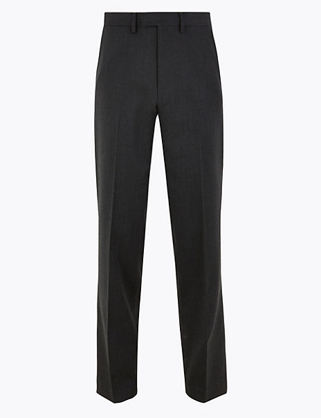 Regular Fit Wool Blend Trouser With Stretch