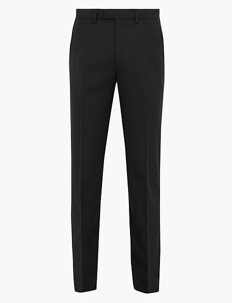 Regular Wool Blend Flat Front Trousers