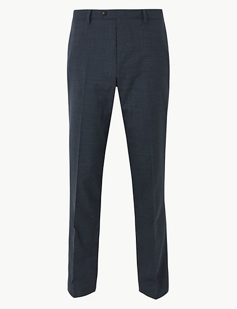 Slim Fit Flat Front Trousers with Wool