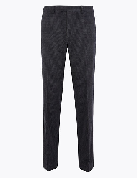Wool Blend Checked Trousers