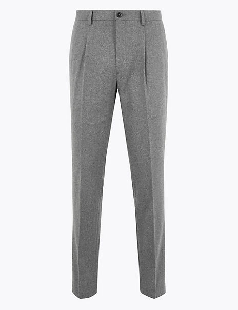 Slim Fit Wool Blend Tapered Trousers