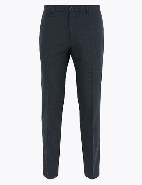 Skinny Fit Micro Check Stretch Trousers