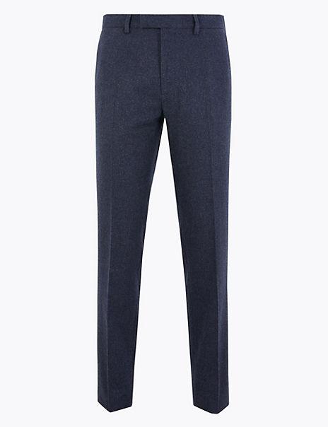 Slim Fit Wool Blend Flannel Trousers