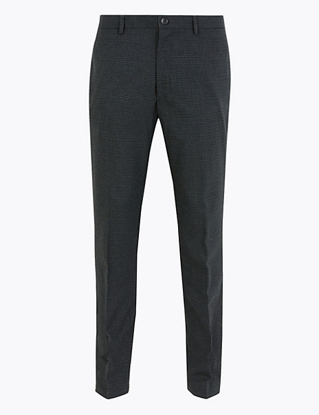 Skinny Fit Stretch Micro Square Checked Trousers