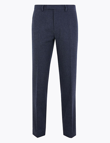 Regular Fit Wool Blend Trousers