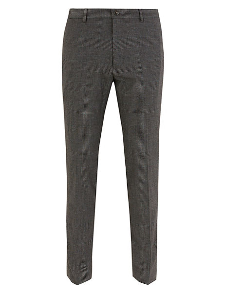 Skinny Fit Stretch Checked Trousers