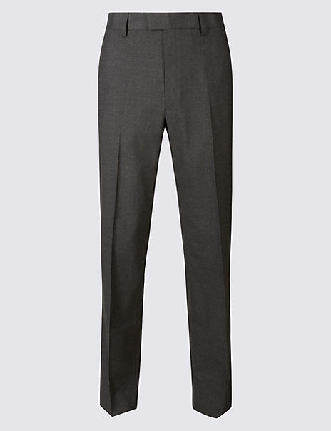 Tailored Fit Textured Flat Front Trousers