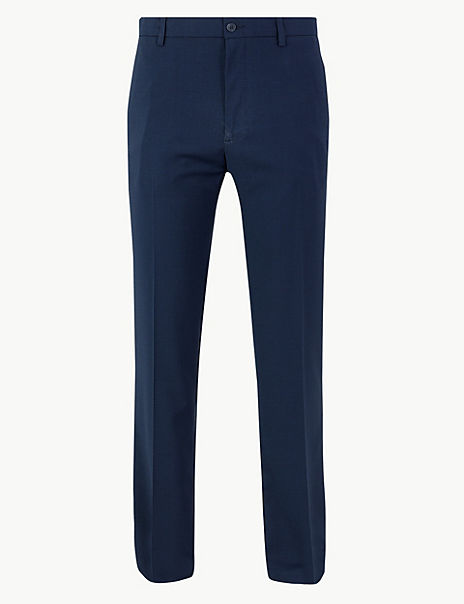 Tailored Fit Checked Flat Front Trousers