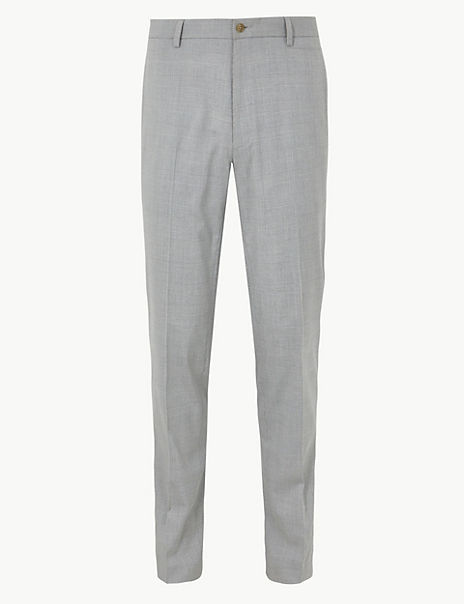 Slim Fit Checked Flat Front Trousers