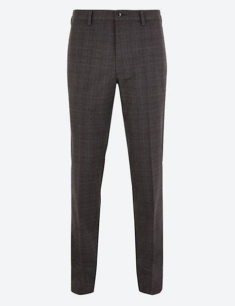 Slim Fit Checked Stretch Trousers