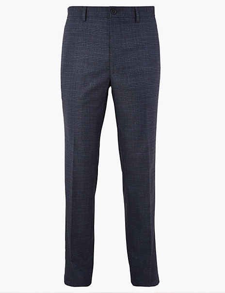 Slim Fit Stretch Checked Trousers
