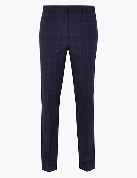 Slim Fit Checked Trousers with Stretch
