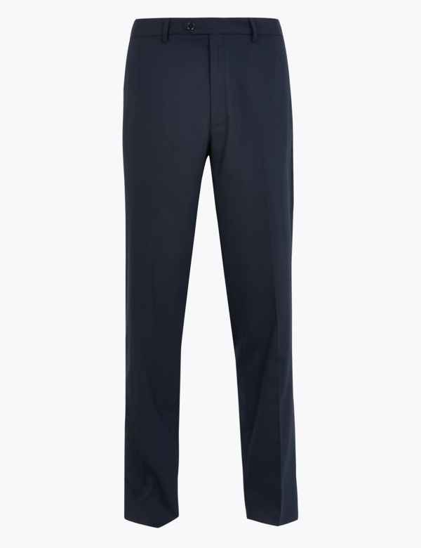 EX M/&S Marks And Spencer Ultimate Perfomance Flat Front Mens Trousers With Wool